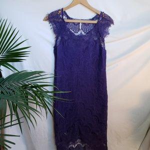 Free People Purple Lace & Fringe Dress